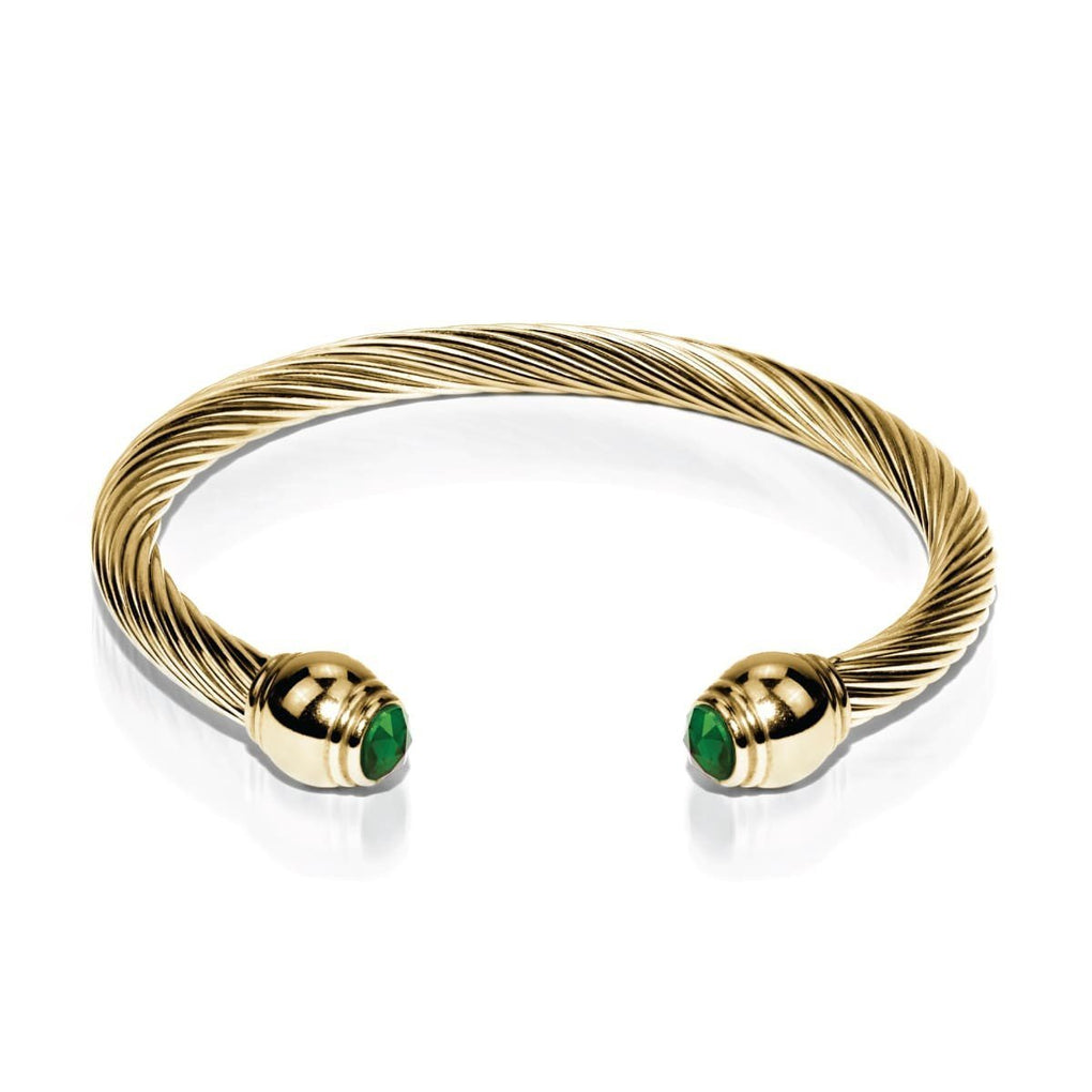 Gaia | 18k Gold | Emerald | Goddess Bangle