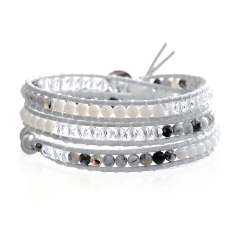 Winter Crystal, Pearlstone & Black White Agate Triple Leather Wrap Bracelet