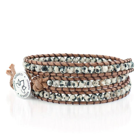 Cookies n' Cream | Dalmation Jasper | Vegan Leather Wrap | Stone Lotus