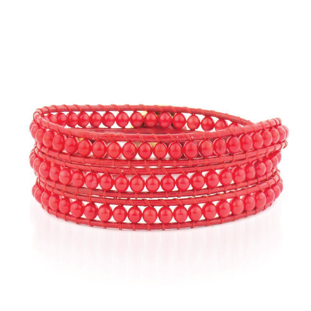 18K Gold Cherry Crush Red Coral | Leather Wrap | Stone Lotus