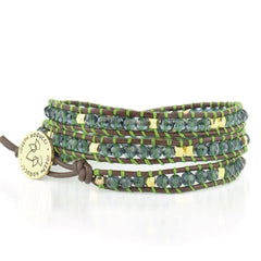 18k Gold Northern Lights Blue Crystal | Leather Wrap | Stone Lotus