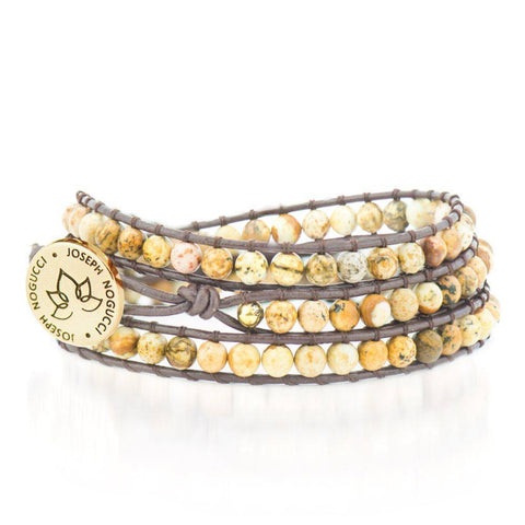 18k Gold Dune Jasper | Leather Wrap | Stone Lotus