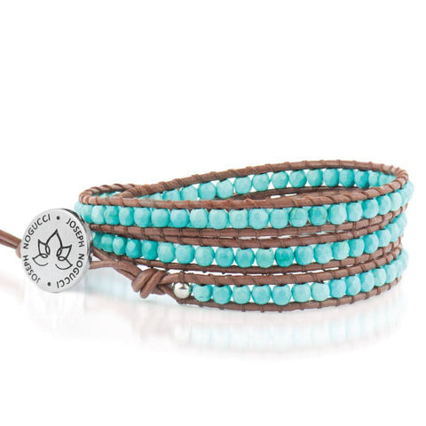Mediterranean Muse Turquoise | Leather Wrap | Stone Lotus