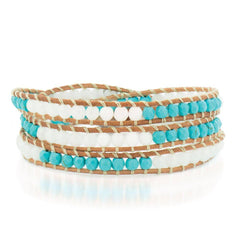 Turquoise and Pearl Stone on a Natural Leather Wrap