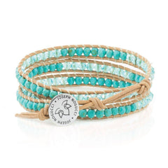 Merry Mermaid Faceted Turquoise & Crystals on Natural Leather Triple Wrap Bracelet