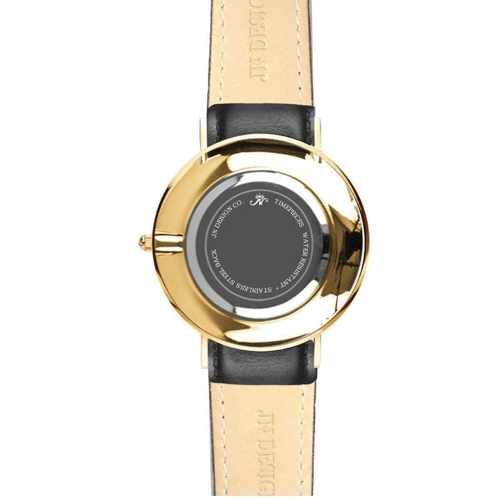 Lansdowne - Gold Timepiece with Black Leather