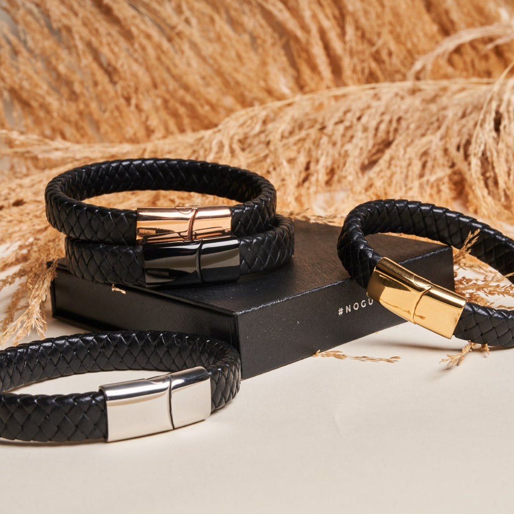 Gunmetal | Infinity Braid | Leather Bracelet