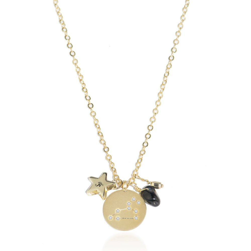 Leo gold zodiac crystal onyx birthstone necklace