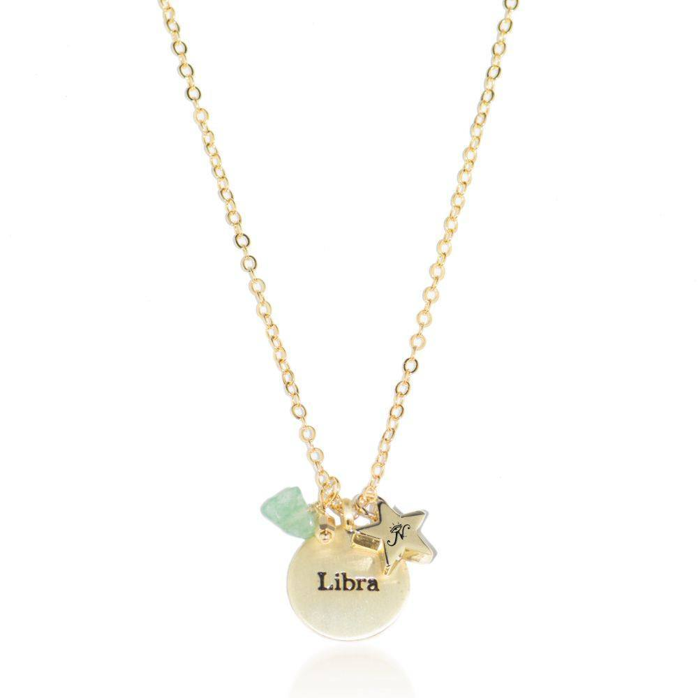 Libra gold zodiac crystal chrysolite birthstone necklace
