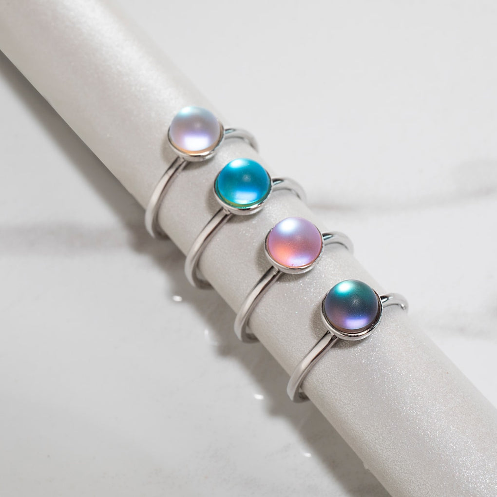 Rainbow White | .925 Sterling Silver | Mermaid Glass Ring