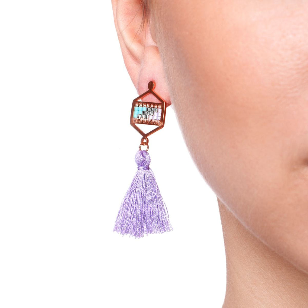 San Clemente | 18k Rose Gold | Boho Fringe Earrings