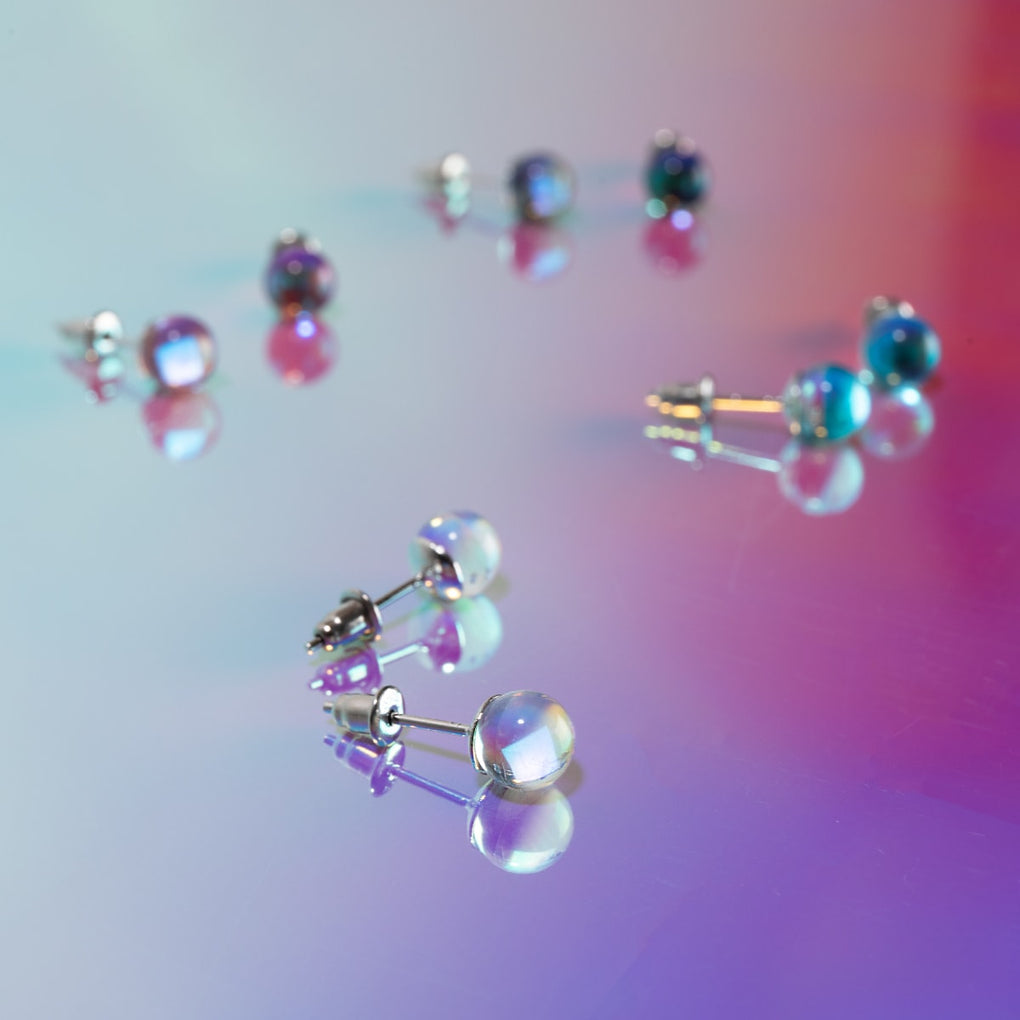Rainbow Supernova | .925 Sterling Silver | Galaxy Glass Mini Stud Earrings