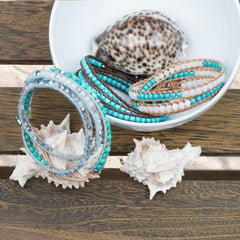 Seafoam Seashore Turquoise & PearlStone | Leather Wrap | Stone Lotus