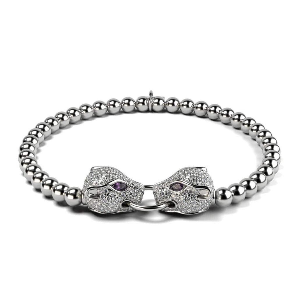 Panthera by Keysi Sayago | 18k White Gold | Cubic Zirconia Crystal Bracelet