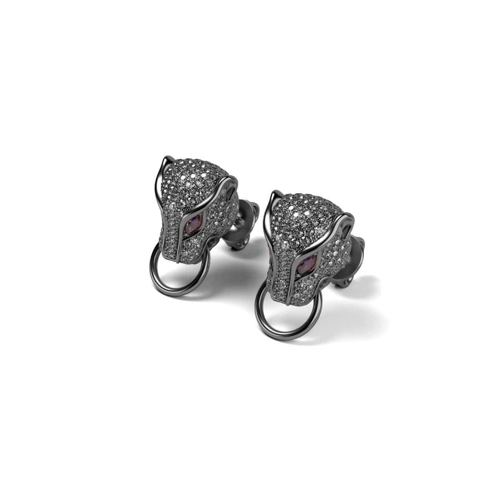 Panthera by Keysi Sayago | Gunmetal | Cubic Zirconia Crystal Earrings