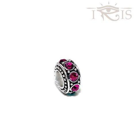 Gina - Pink Crystal  Queen Ring Silver Filled Charm from IRIS