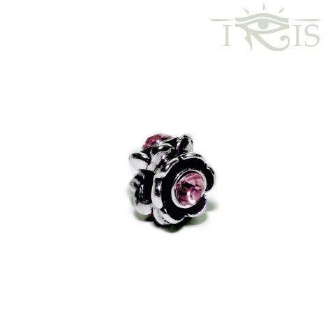 Evelyn - Pink Crystal  Rose Flower Silver Filled Charm from IRIS