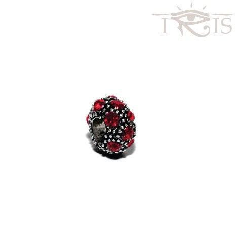Lorna - Red Crystal Coral Silver Filled Charm from IRIS