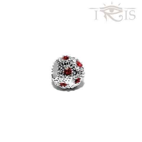 Kara - Red Crystal Osage Silver Filled Charm from IRIS