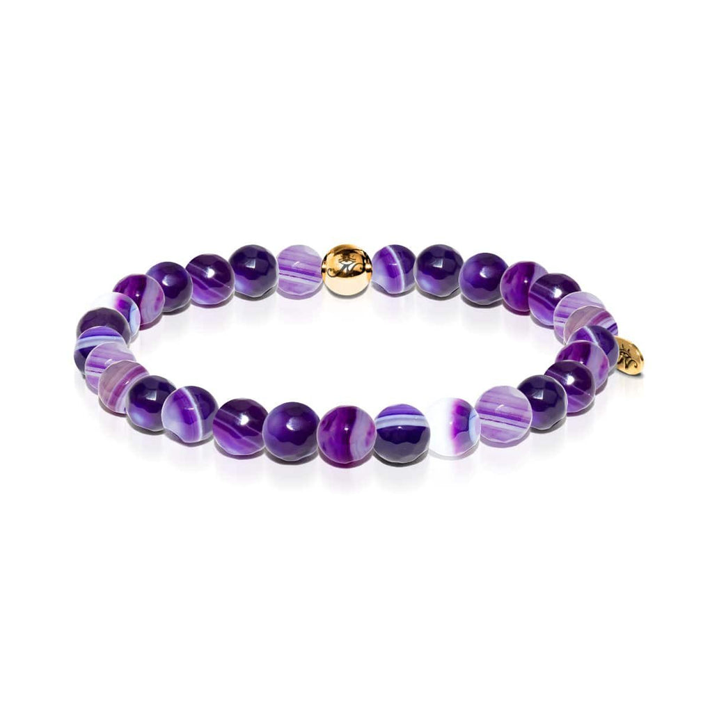 Reflection | Gold Essence Purple Lines Agate Bracelet