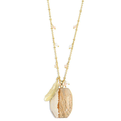 Sands of Time Wooden Line Jasper Stone and Gold Feather Necklace