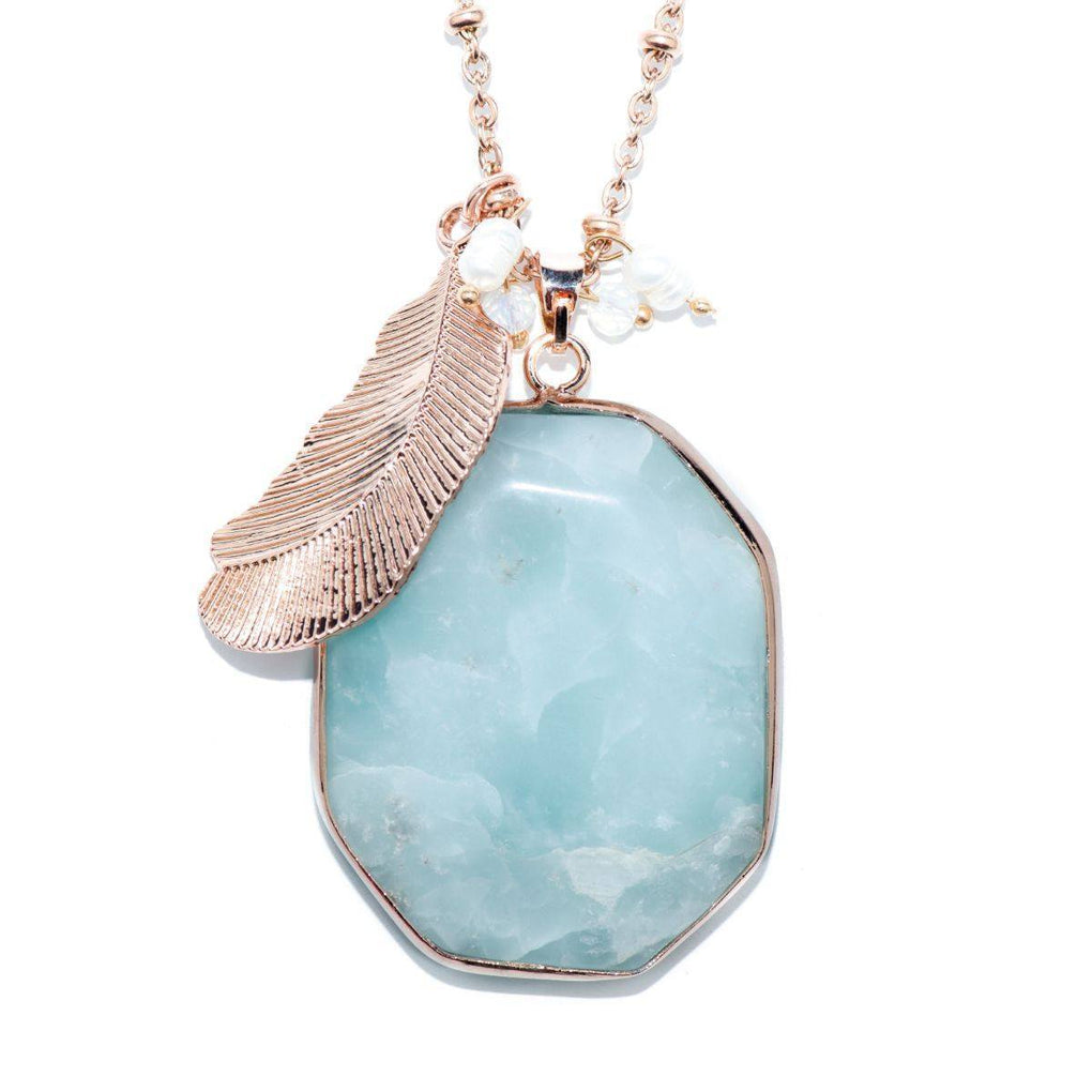Cloud Nine Blue Cuprite Stone and Rose Gold Feather Necklace