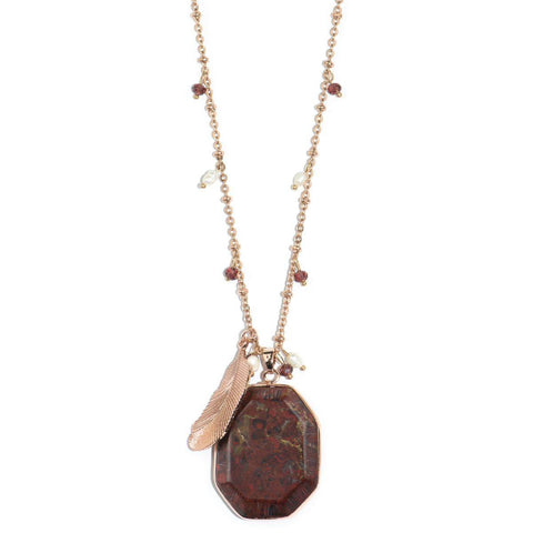 Jupiter Storm Red Jasper and Rose Gold Feather Necklace