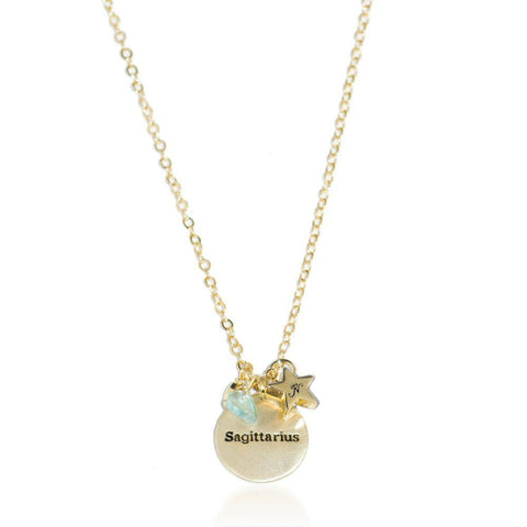 Sagittarius gold zodiac crystal topaz birthstone necklace