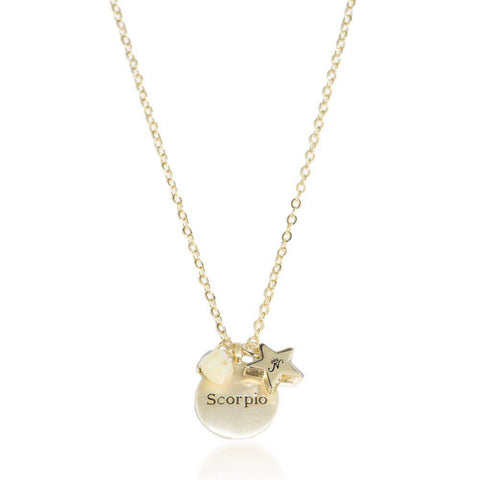 Scorpio gold zodiac crystal heliodor birthstone necklace