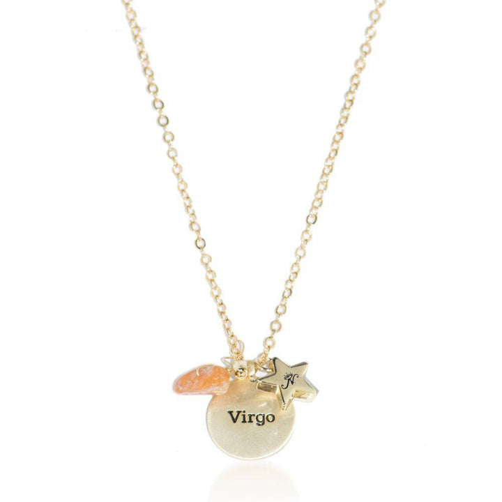 Virgo gold zodiac crystal carnelian birthstone necklace