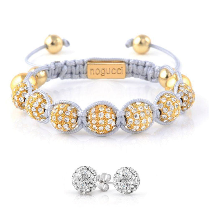 Gold Grey Crystal KikiBalla & Earring Set