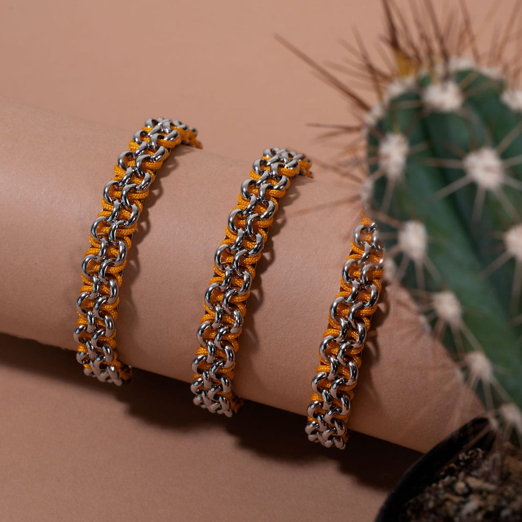 Camel Links | Mini Kismet Bracelet | Orange x Silver