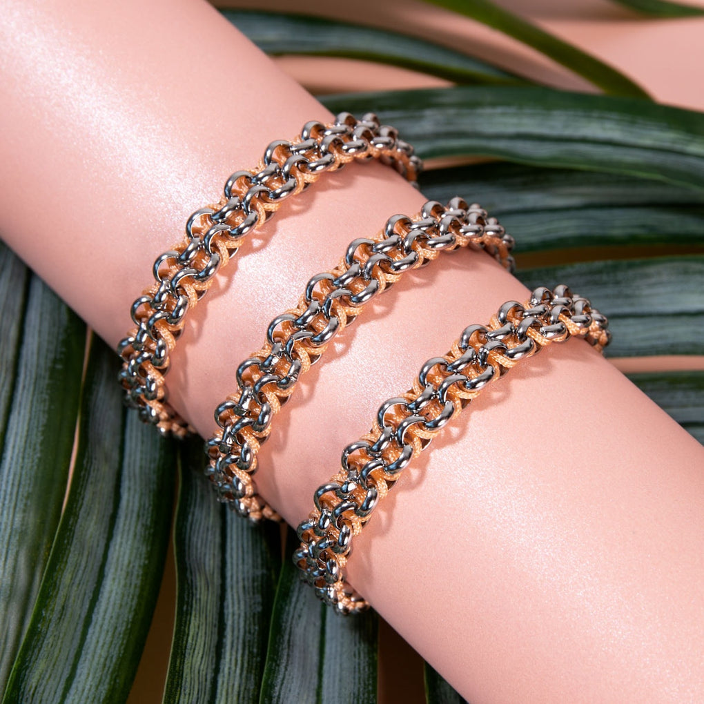 Lemur Links | Mini Kismet Bracelet | Peach x Silver