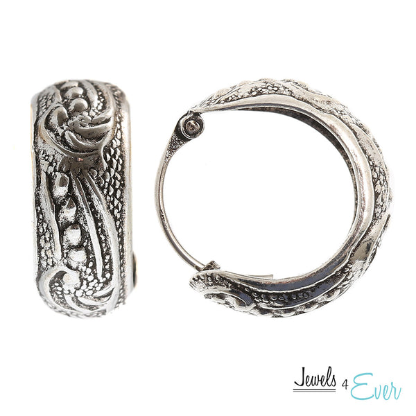 Vintage Antiquated Oxidized Sterling Silver Hoop Earrings