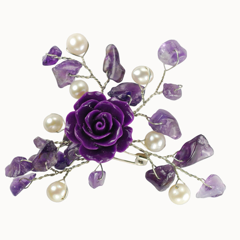 Purple Freshwater Pearl Brooch