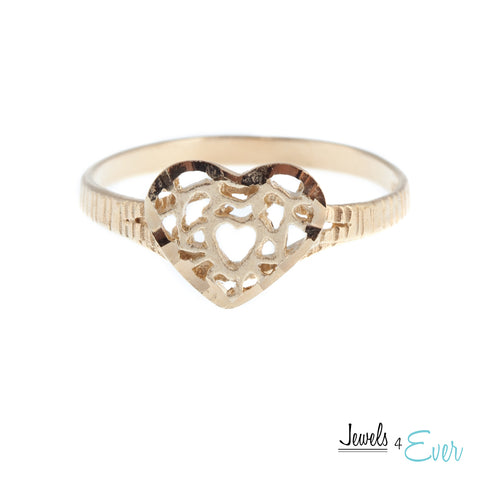 Sterling Silver Vintage Vermeil Heart Ring with 22kt Yellow Gold plating