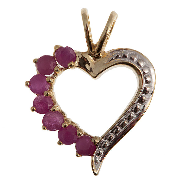 Sterling Silver Gold Plated Heart Shaped Pendant with Genuine Gemstones