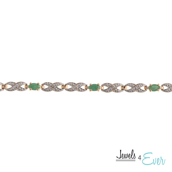 Silver Gold Plated Emerald Bracelet