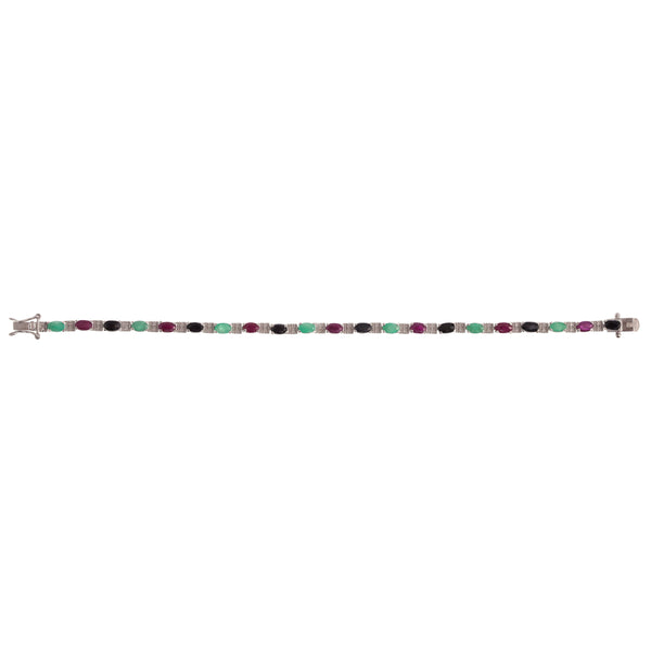 Ruby, Emerald and Sapphire Bracelet in Sterling Silver