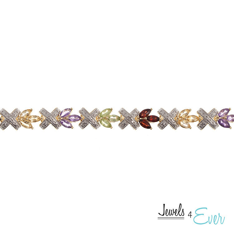 Sterling Silver Gold Plated Gemstone Bracelet