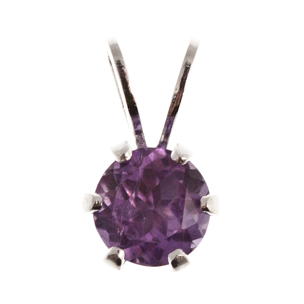 Sterling Silver 5 mm genuine Amethyst Pendant