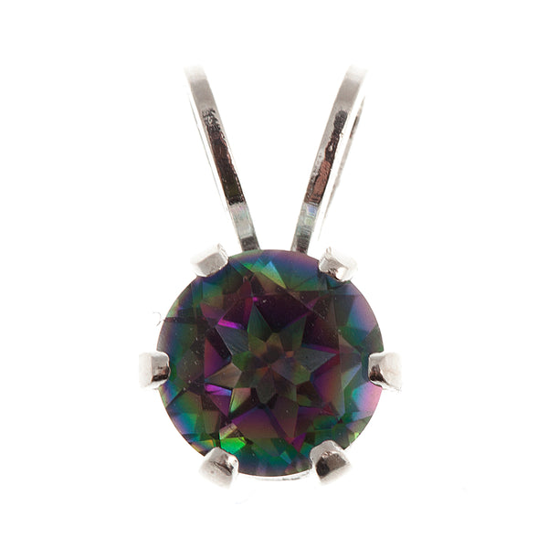 "Affordable and ElegantSterling Silver Pendant with 5 mm Genuine Gemstone and 18"" Silver Chain"