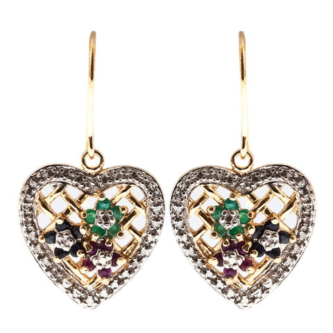 Sterling Silver Gold Plated Emerald, Sapphire, Ruby Earrings