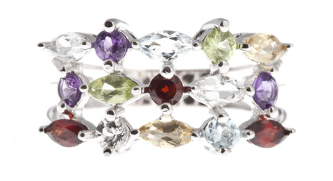 Sterling Silver genuine Multi-Color Gemstone Ring