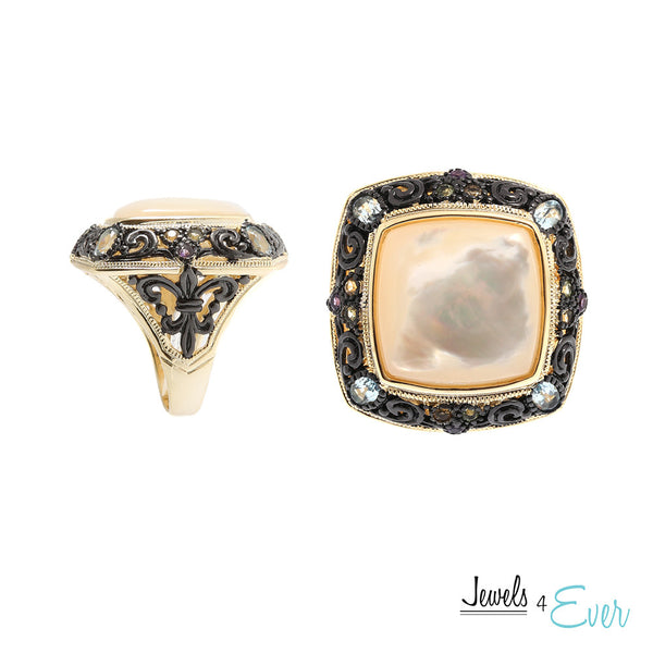 Sterling Silver Gold plated Ring set with Mother of Pearl and Gemstones