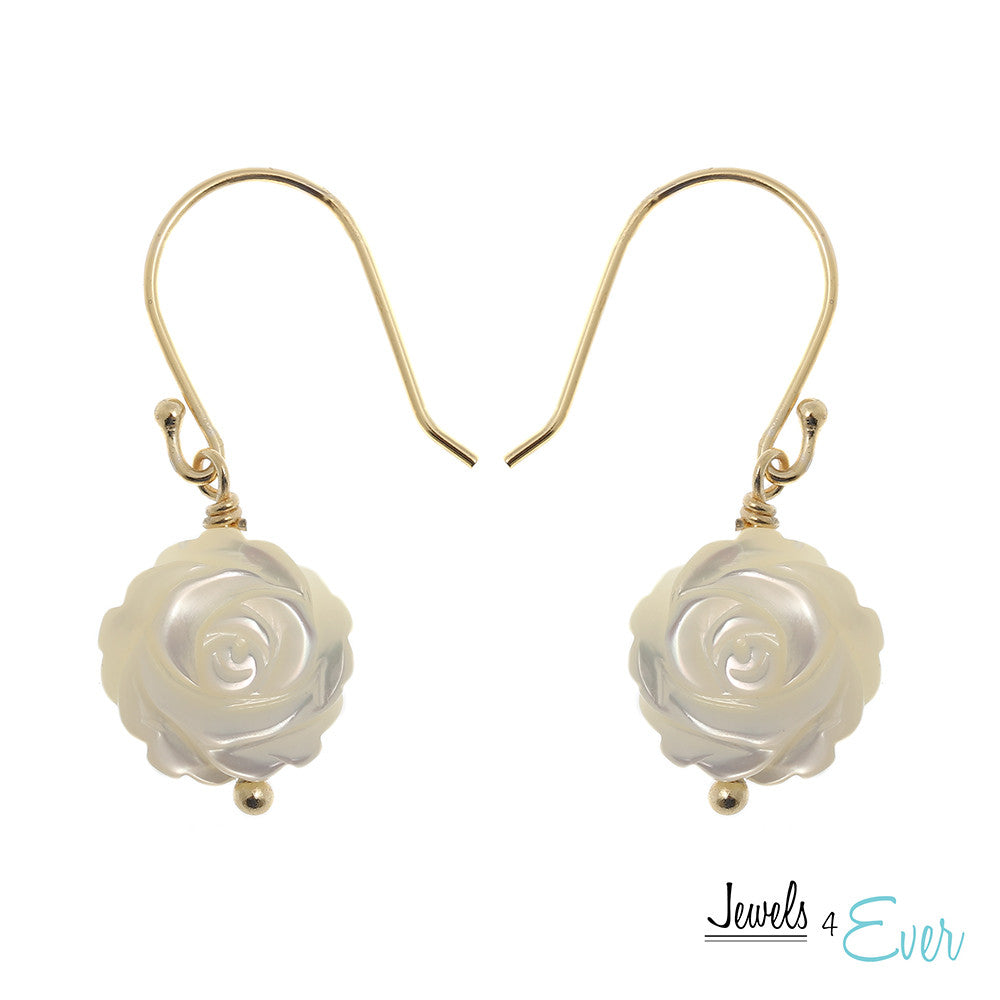 Sterling Silver Gold plated Mother of Pearl Flower Earrings