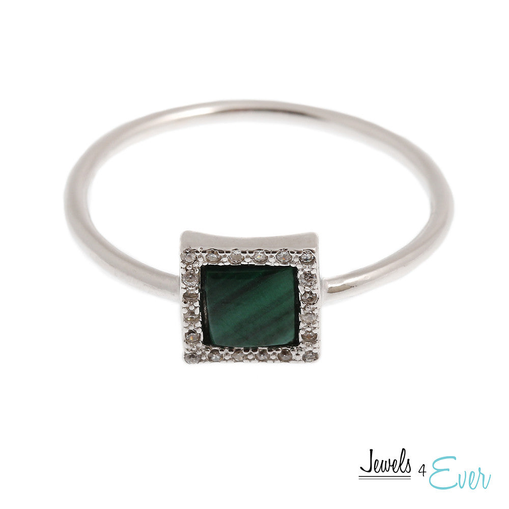Sterling Silver Ring set with Malachite and Cubic zirconia