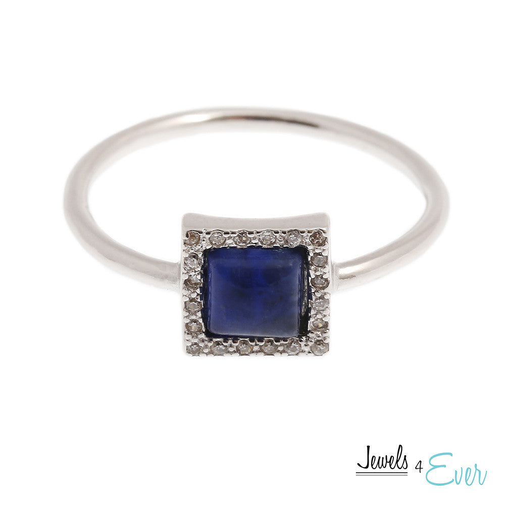Sterling Silver Ring set with Sodalite and Cubic zirconia