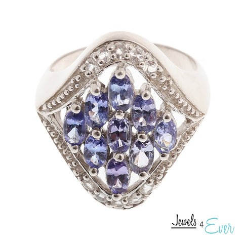 Sterling Silver Ring set with genuine Tanzanite and White Topaz
