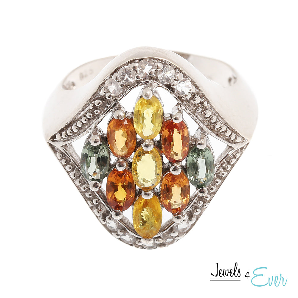 Sterling Silver Ring set with genuine Yellow Sapphire